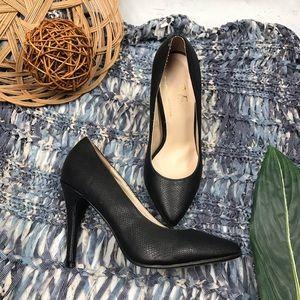 Versace 1969 Anita Black Textured Leather Heels 7M